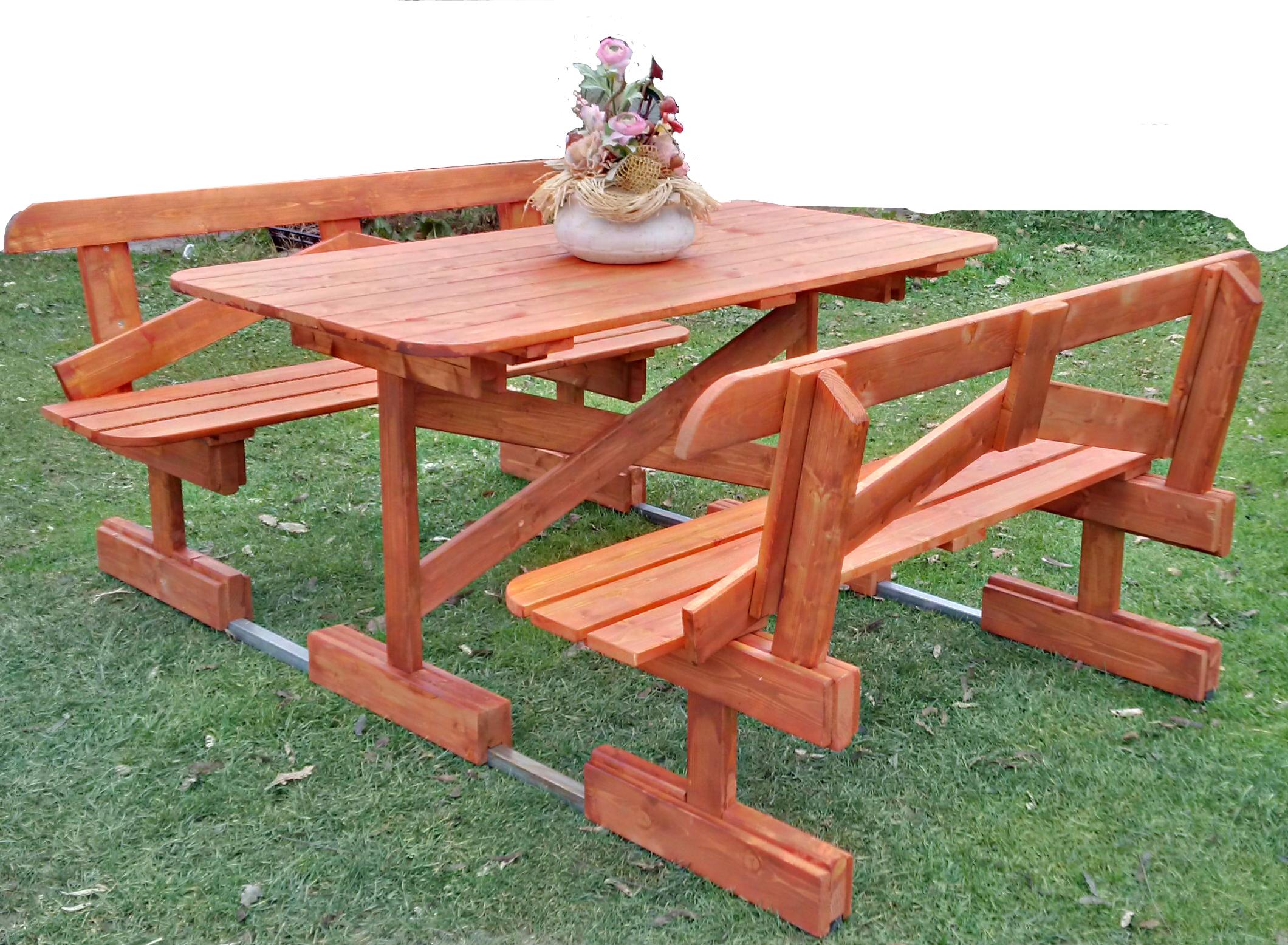 Tavoli per l 39 esterno in legno tavolo in legno con panchine mod park - Tavoli per esterno in legno ...